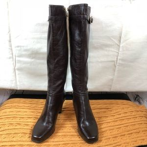 Franco Sarto knee high boots faux leather brown